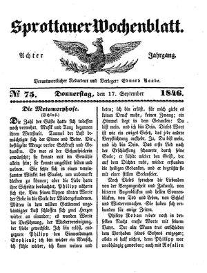 Sprottauer Wochenblatt vom 17.09.1846