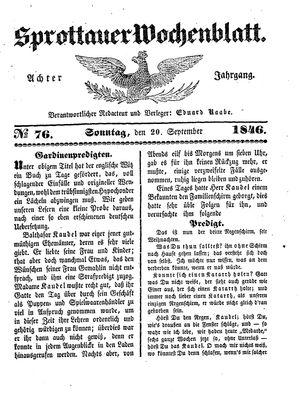 Sprottauer Wochenblatt vom 20.09.1846
