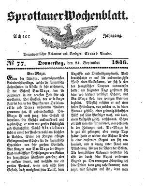 Sprottauer Wochenblatt vom 24.09.1846