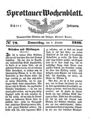 Sprottauer Wochenblatt vom 01.10.1846