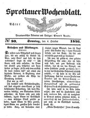Sprottauer Wochenblatt vom 04.10.1846