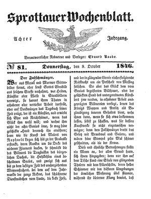 Sprottauer Wochenblatt vom 08.10.1846