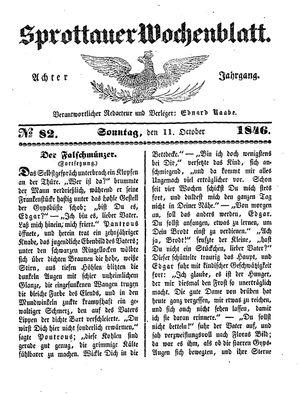 Sprottauer Wochenblatt vom 11.10.1846