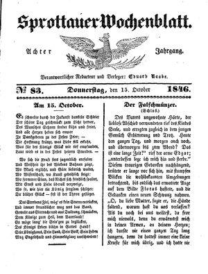 Sprottauer Wochenblatt vom 15.10.1846