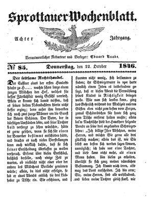 Sprottauer Wochenblatt vom 22.10.1846