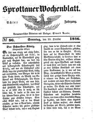 Sprottauer Wochenblatt vom 25.10.1846