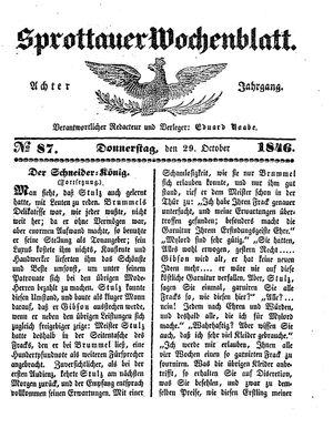 Sprottauer Wochenblatt vom 29.10.1846
