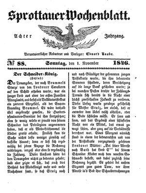 Sprottauer Wochenblatt vom 01.11.1846