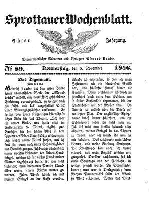 Sprottauer Wochenblatt vom 05.11.1846