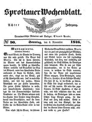 Sprottauer Wochenblatt vom 08.11.1846