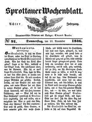Sprottauer Wochenblatt vom 12.11.1846