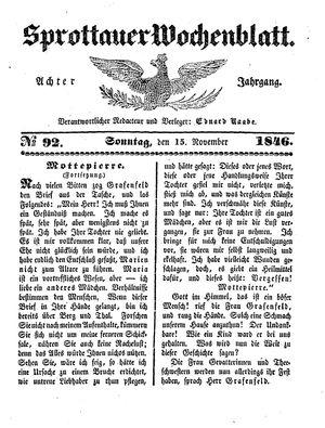 Sprottauer Wochenblatt vom 15.11.1846