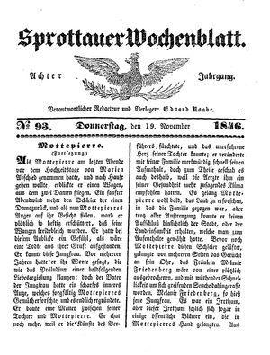 Sprottauer Wochenblatt vom 19.11.1846