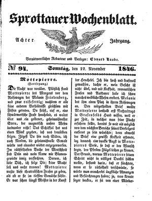 Sprottauer Wochenblatt vom 22.11.1846