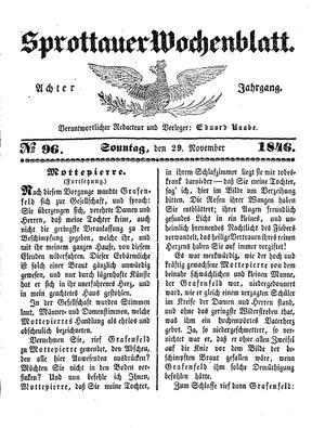 Sprottauer Wochenblatt vom 29.11.1846