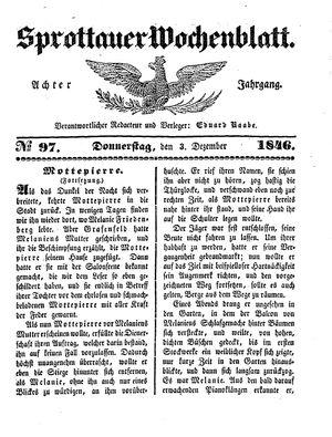 Sprottauer Wochenblatt vom 03.12.1846
