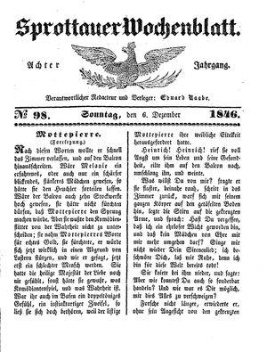 Sprottauer Wochenblatt vom 06.12.1846