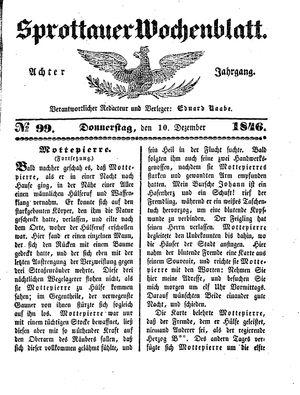 Sprottauer Wochenblatt vom 10.12.1846