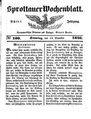 Sprottauer Wochenblatt vom 13.12.1846