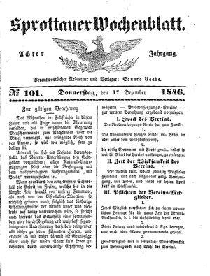 Sprottauer Wochenblatt vom 17.12.1846