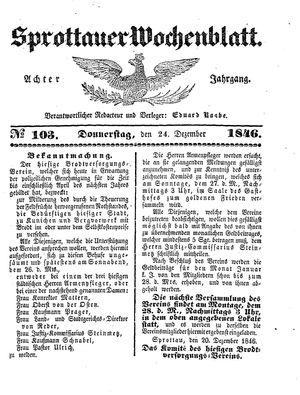 Sprottauer Wochenblatt vom 24.12.1846