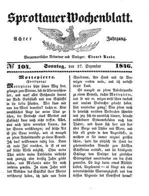 Sprottauer Wochenblatt vom 27.12.1846