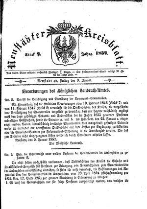 Neustädter Kreisblatt vom 09.01.1852