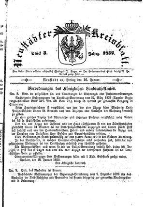 Neustädter Kreisblatt vom 16.01.1852