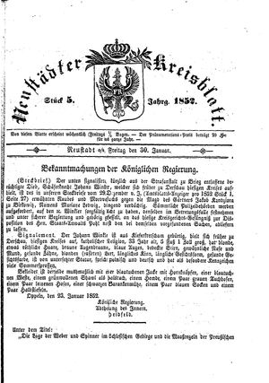 Neustädter Kreisblatt vom 30.01.1852