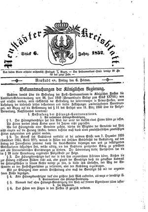 Neustädter Kreisblatt vom 06.02.1852