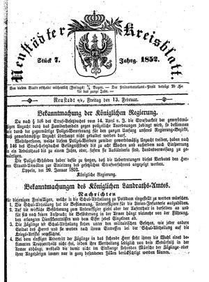 Neustädter Kreisblatt vom 13.02.1852