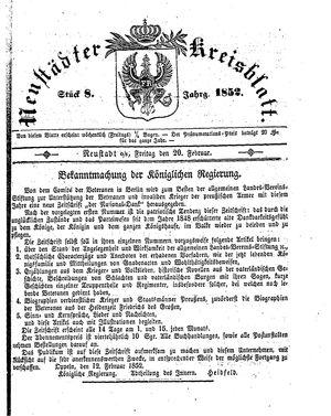 Neustädter Kreisblatt on Feb 20, 1852