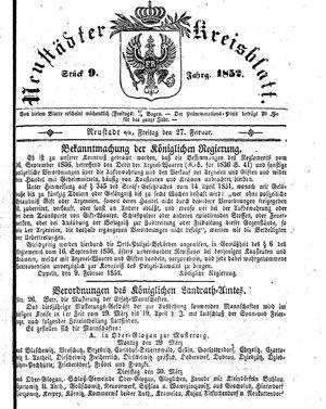 Neustädter Kreisblatt vom 27.02.1852