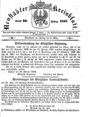 Neustädter Kreisblatt vom 05.03.1852