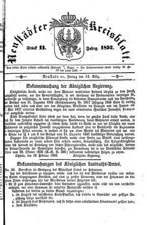 Neustädter Kreisblatt vom 12.03.1852