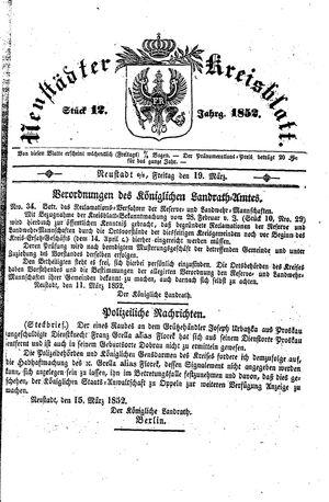 Neustädter Kreisblatt on Mar 19, 1852