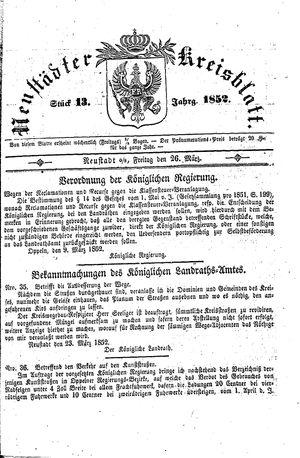 Neustädter Kreisblatt on Mar 26, 1852