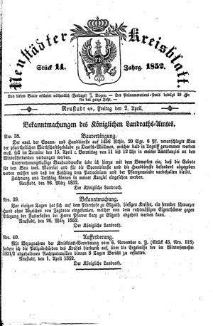 Neustädter Kreisblatt vom 02.04.1852