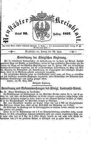 Neustädter Kreisblatt vom 16.04.1852
