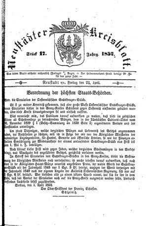 Neustädter Kreisblatt vom 23.04.1852