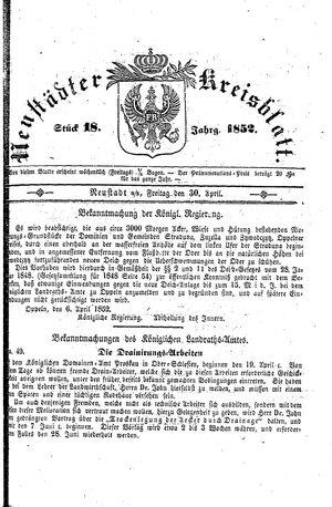 Neustädter Kreisblatt vom 30.04.1852