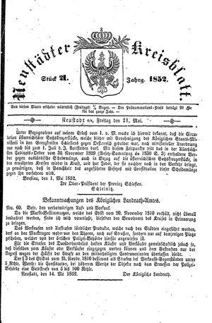 Neustädter Kreisblatt vom 21.05.1852