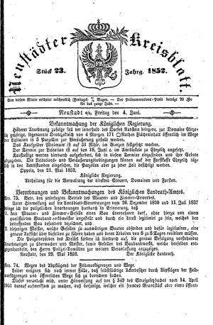 Neustädter Kreisblatt vom 04.06.1852