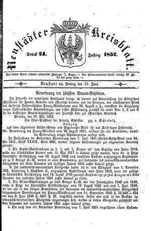 Neustädter Kreisblatt on Jun 11, 1852
