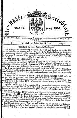 Neustädter Kreisblatt vom 25.06.1852