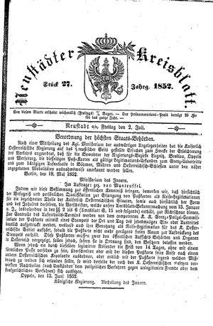 Neustädter Kreisblatt vom 02.07.1852