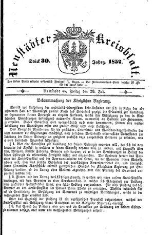 Neustädter Kreisblatt vom 23.07.1852