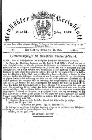 Neustädter Kreisblatt on Jul 30, 1852