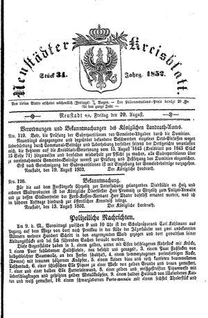Neustädter Kreisblatt vom 20.08.1852