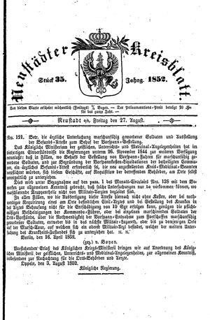 Neustädter Kreisblatt vom 27.08.1852